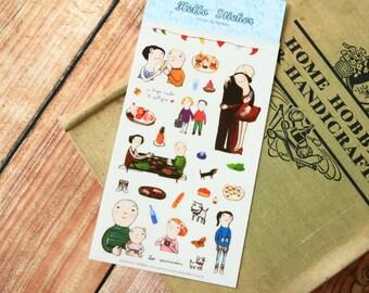 A Party cartoon diary scrapbooking HELLO EVA stickers set