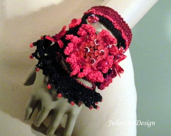 Sale - ENCHANTING SIGNATURE CUFF - Fiber Art Jewelry, Exquisitely Beaded, Hand Embroidered, Freeform Crocheted
