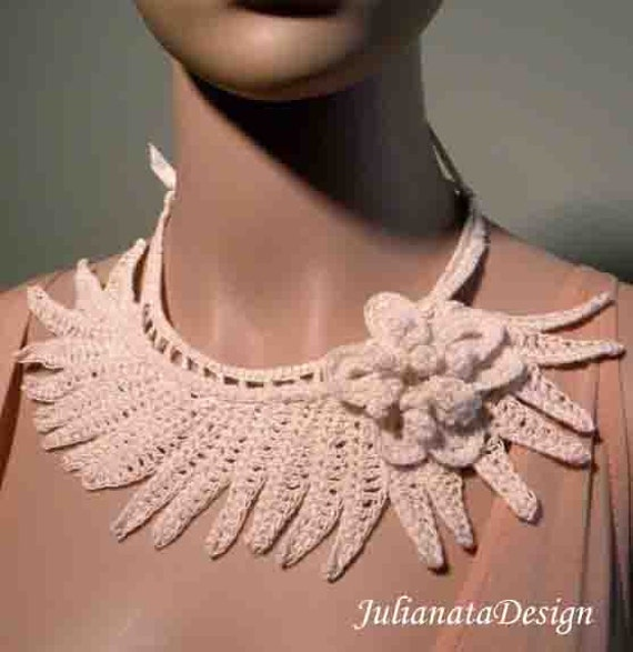 Sale - ELEGANT TIMELESS NECKLACE - Irish Lace Crochet Motif, Fiber Art Jewelry, Fine Thread