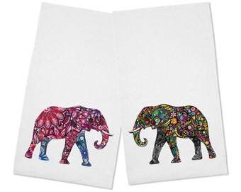Beautiful Set of 2 Floral African Elephant Kitchen Tea Towels
