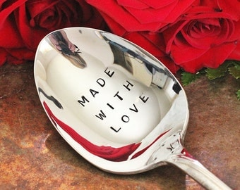 Stamped Spoon Made with Love Serving Flatware, Hand Stamped Silverware, Foodie Gift Idea, Gourmet Cook - Wave