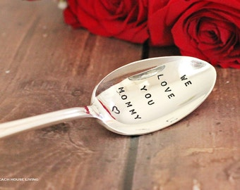 "We Love You Mommy Upcycled ""Stamped Spoon"" . Gift Ideas From the Children . Gifts for Mom Under 25"
