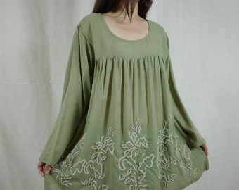 Blossom - Plus Size Bohemian Long Sleeve Azo Free Color Olive Green Light Cotton Blouse With Hand-Embroidered Detail