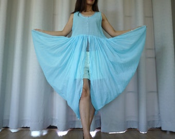 Butterfly -  Long Tanktop In Light Cotton Mix Polyester Hand Dyed In Blue