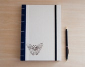 Butterfly Journal. Prayer Book. Travel Journal. Handprinted Butterfly. Coptic Binding.