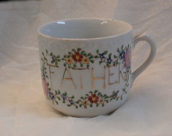 Floral Father Mug Japan Made Hand Painted Big Mug, Great for Father's Day