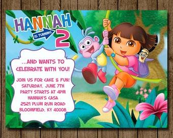 Dora birthday invite etsy dora the explorer birthday invitation dora invitation dora invite girl birthday party filmwisefo