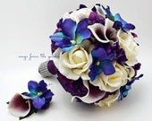 Blue Orchid Picasso Calla Bridal Bouquet Real Touch Ivory Roses Purple Hydrangea Grooms Boutonniere Blue Purple Plum White Wedding Bouquet