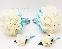 White Aqua Blue Wedding Flower Package Bridesmaid Bouquets Groomsman Boutonnieres Real Touch Rose Silk Stephanotis Customize for your Colors