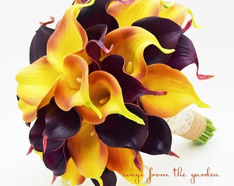 Fall Wedding Real Touch Calla Lily Bridal Bouquet Burnt Orange and Plum with Burlap and Ivory Lace Wrap - Autumn Bridal Bouquet Real Touch