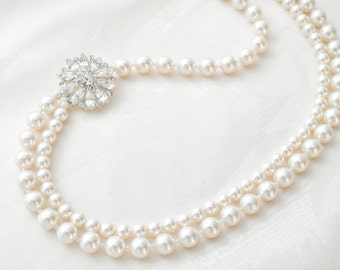 Brooch Bridal Necklace, Vintage Style Pearl Necklace, Pearl Wedding Necklace, Wedding Jewellery