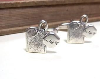SALE Antiqued Silver Tea Cuff Links - Tea Bag Cufflinks - Tea Drinker - Mens Gift Soldered Teabag CLEARANCE