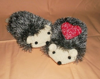 Hand Knit Hedgehog Cream White Mittens with Heart Reflective Yarn Valentines Day Adult Size M Ready to ship