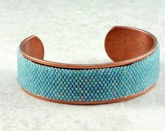 Seafoam Beadwoven Copper Cuff Bracelet