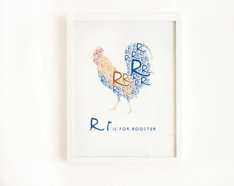 Digital Alphabet Art Print, R is for Rooster 8x10 Inch