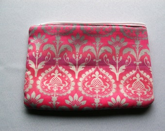 CLEARANCE...Medium Cosmetic Pouch Pink Damask...Cordelia Collection