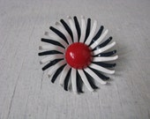 Vintage blue & white enamel flower pin brooch with red center