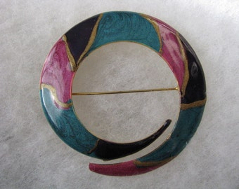 Round teal, purple, pink, gold tone vintage brooch pin