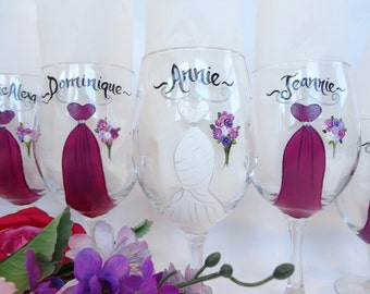 Hand Painted Bridesmaid Wine Glasses - Bridesmaid Glasses - PERSONALIZED to YOUR DRESSES - Gift Wrap Available