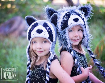 CROCHET PATTERN Rocky and Ricki the Raccoons Crochet Hat Pattern in PDF Instant Download