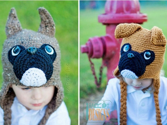 Crochet Pattern Baby Dog Hat : CROCHET PATTERN Duncan the Boxer Hat Crochet Pattern in PDF