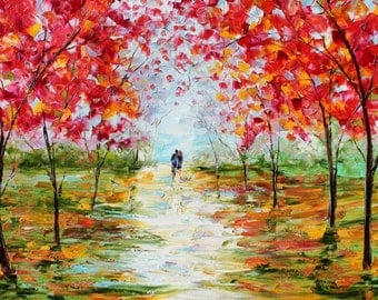 Fine art Print - Spring Romance - made from image of oil painting by Karen Tarlton impressionistic palette knife fine art