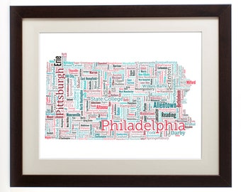 """Pennsylvania State Framed Type Map Art Print - 16"""" x 20"""" // Additional Sizes Available"""
