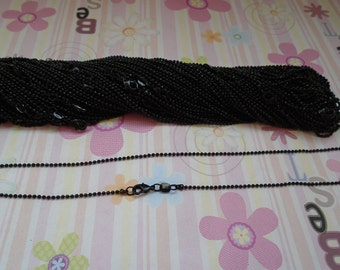 High Quality--25pcs 1.5mm 20 inch black shiny ball chain necklace  with lobster clasp