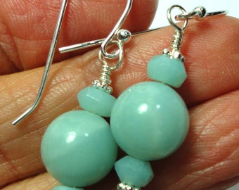 Amazonite Earrings with Sterling
