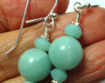Amazonite Gemstone Bead Earrings with Sterling Hook Ear Wires