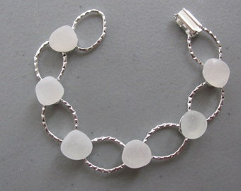 White Glass Bracelet Hammered Seaglass Beach Glass