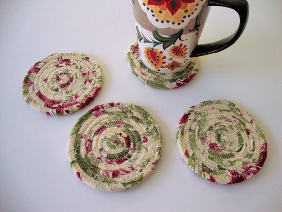 COASTER SET of 4 - Handmade Coasters - Fabric Coil Coasters - Coiled ...