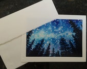 """Night Stars in mountain pine forest Watercolor Art Print of painting Embossed Greeting Card, Note Card """"Sierra Mountain Celestial series #2"""""""