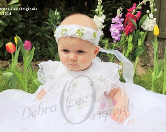 Halo of Roses Christening / Blessing headpiece White