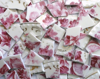 120 Vintage Rose Pink and Cream Floral Vintage China Mosaic Tiles//Broken Dish//Mosaic//Mosaic Supplies