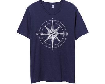 Mens Compass TShirt - Sailor Shirt - Compass Tee -  MensTshirt - Small, Medium, Large, XL, 2XL