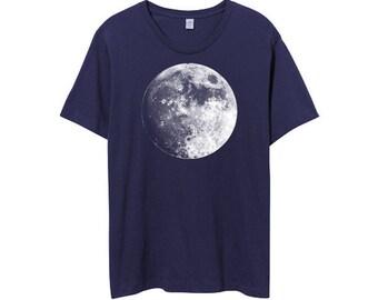 Men Moon Shirt, Full Moon Shirt, Navy Blue, Moon Tshirt, Moons, Mens Cotton Shirt, Moon Print, Moon tshirt - Small, Medium, Large, XL, 2XL