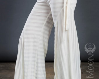 Last One SALE: White Stripes Flare Pants by Opal Moon Designs (size S or L)