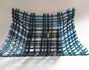 Steel BLue with Dichroic Accents // Square // Fused GLass Woven Bowl // Deep // Large // Weave // Fruit // Display // Functional // Candy
