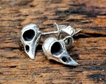 Tiny Bird Skull stud  Earrings  Precious The itty bitty biirdy made in NYC
