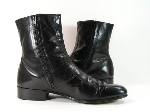 vintage beatle boots mens 10 e ankle zipper shoes black