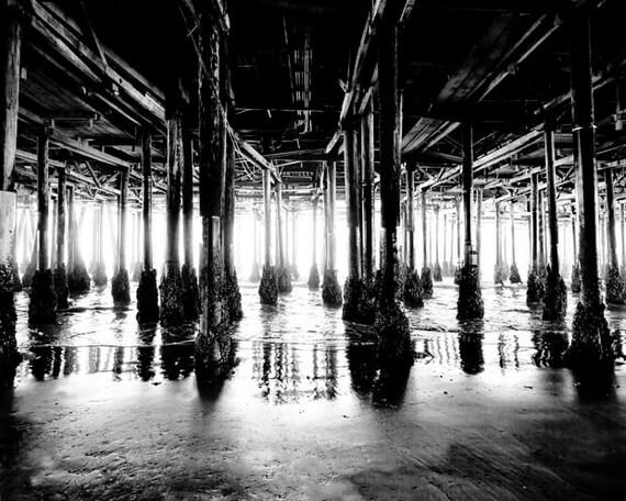 Black and White Beach Decor, Santa Monica Pier, Boardwalk, Ocean Photography, Rustic, Neutral, California Print