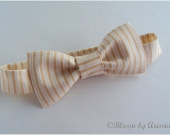 Preppy bow tie collection. Ivory and cream color stripes
