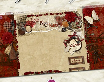 "Blog ""Je T'aime"" Designer Theme - red, brick, tan, mocha, flower, shabby, vintage, rusty, key, bird, collect, cameo, spoon, template, pretty"