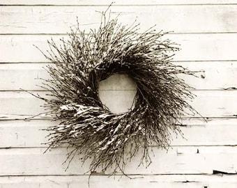 Rustic Home Decor, Snowy Farmhouse Decor, Grapevine Wreath, Winter Wreath Print, Fixer Upper Decor