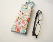 Pastel eyeglass case with lanyard necklace, faux leather holder for glasses, spectacles cover with pocket