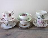 Vintage Mismatched China Teacups and Saucers Set of Six