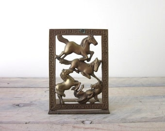 Vintage Brass Horse Bookend Folding