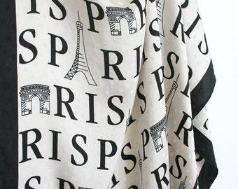 Large graphc scarf by Nicole de Beauvoir. Paris, Eiffel tower, Triumph Arc, text, lettering, navy blue, white,, oversized.
