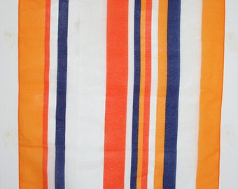 Retro sheer scarf. Stripes, NOS, lightweight, summer, orange, navy blue, white, made in Japan, headband, oblong, waistband, hair tie, fun